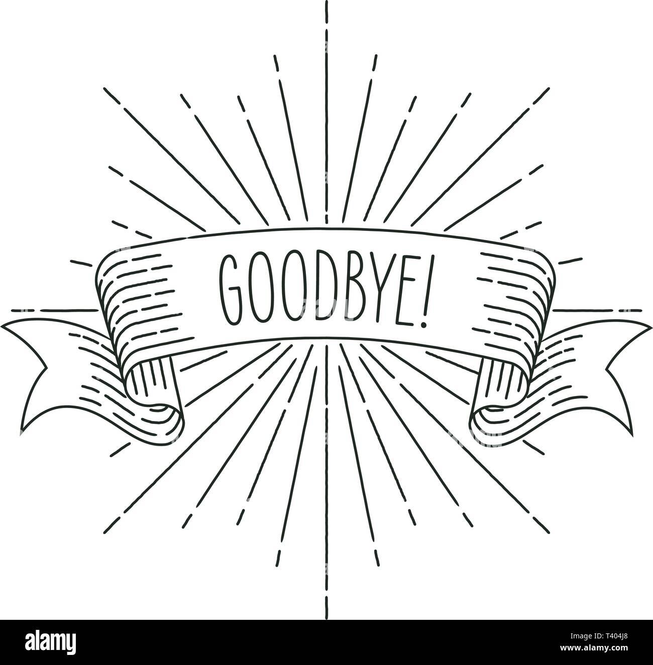 Banner de despedida. Banner de cinta Tarjeta de felicitación en vintage mirar con palabra adiós, grabado estilo gráfico. Elemento de diseño retro. Ilustración vectorial. Imagen De Stock