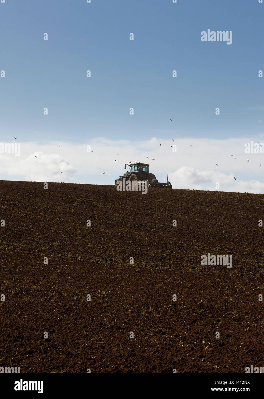 Un tractor cultivando un campo en una colina Foto de stock