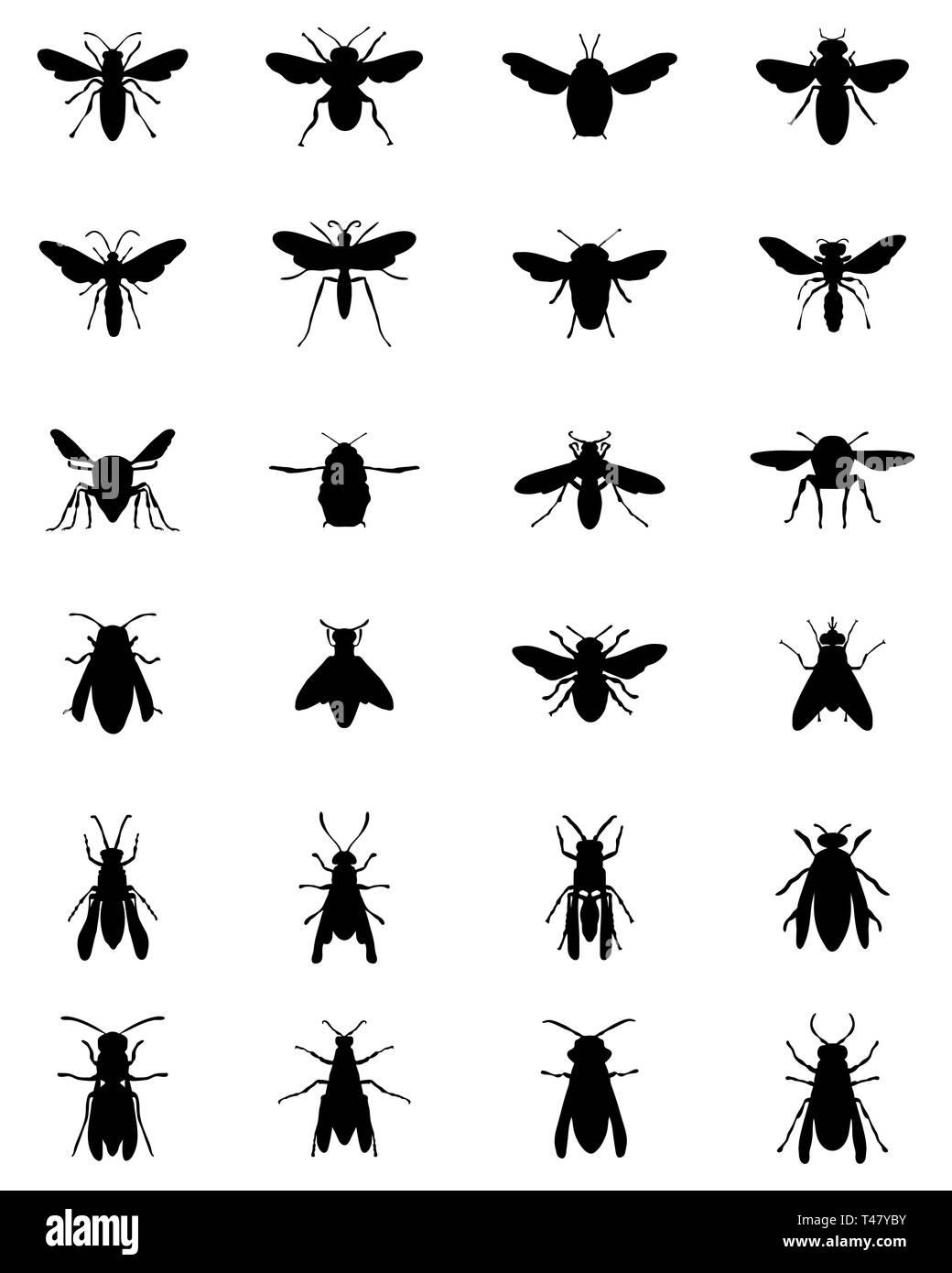 Siluetas negras de abejas y avispas sobre un fondo blanco. Imagen De Stock