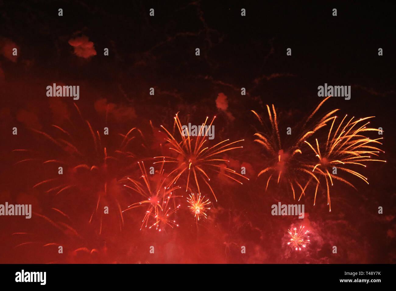 Fuegos artificiales de Nochevieja Foto de stock