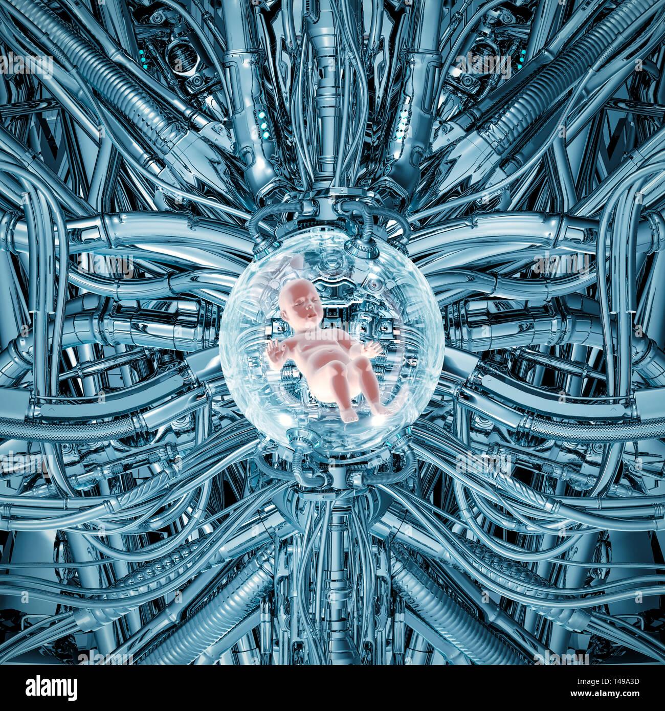 El bebé pod chrome / 3D ilustración de ciencia ficción escena mostrando derechos niño dormido dentro de brillante incubadora futurista compleja maquinaria de clonación Foto de stock