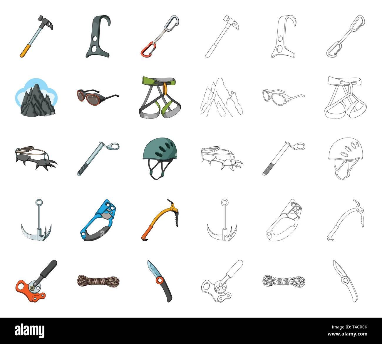 151ed0c4632 Montañismo y escalada cartoon,outline iconos en conjunto para el diseño.  Equipos y accesorios
