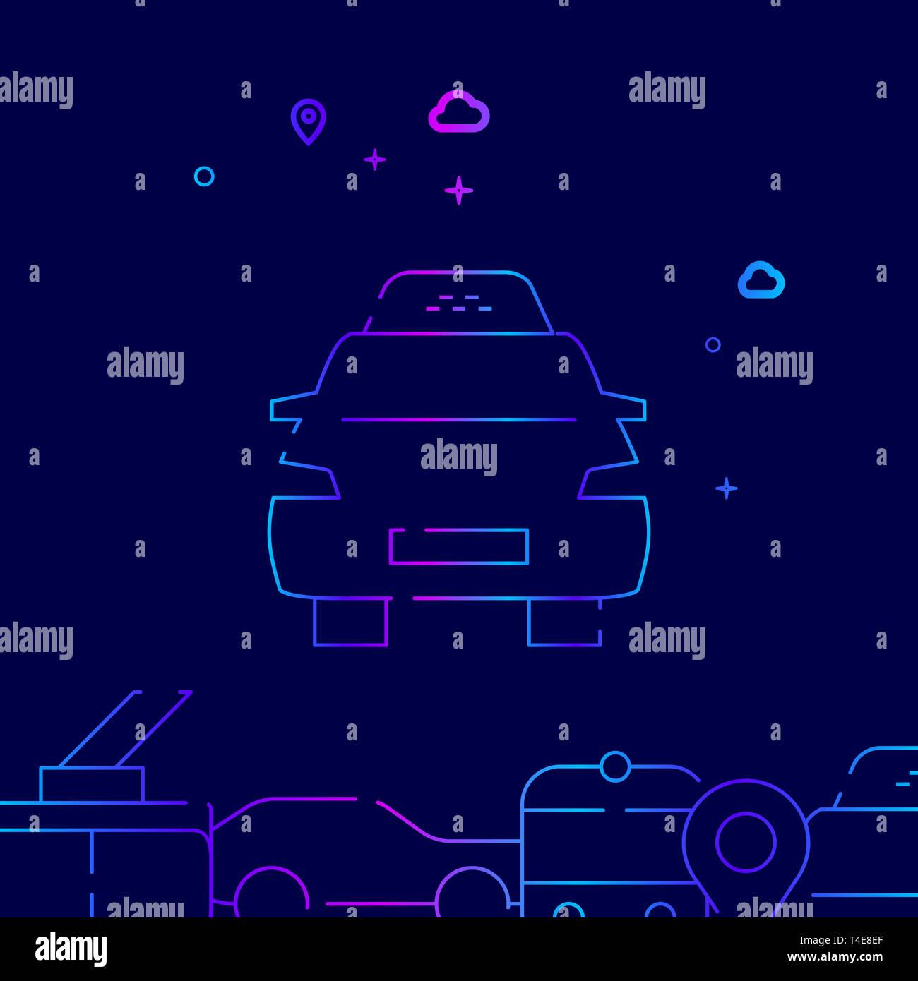 Taxi Car Line Ilustración. Transporte público icono gradiente, el símbolo, el signo. Fondo azul oscuro. Relacionados borde inferior. Imagen De Stock