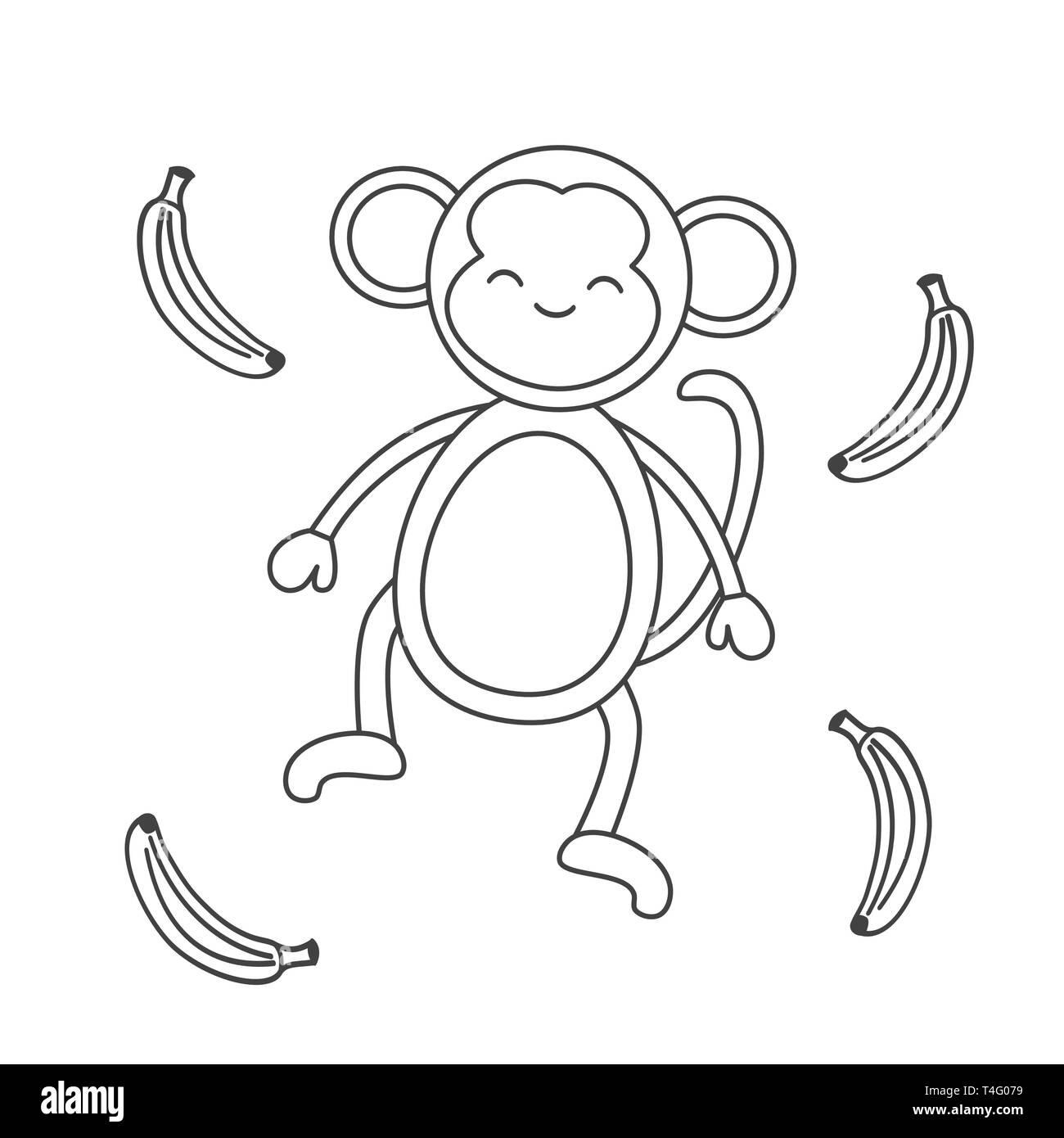 Caricatura En Blanco Y Negro Con Banana Monkey Ilustración