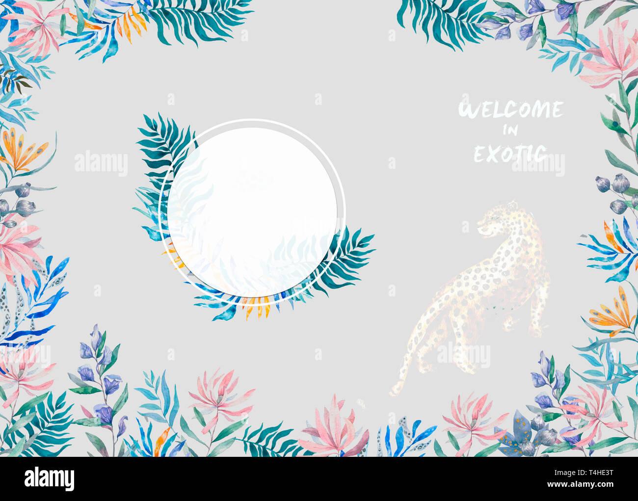 Acuarela Círculo Exótico Marco Con Hojas Flores Tropicales