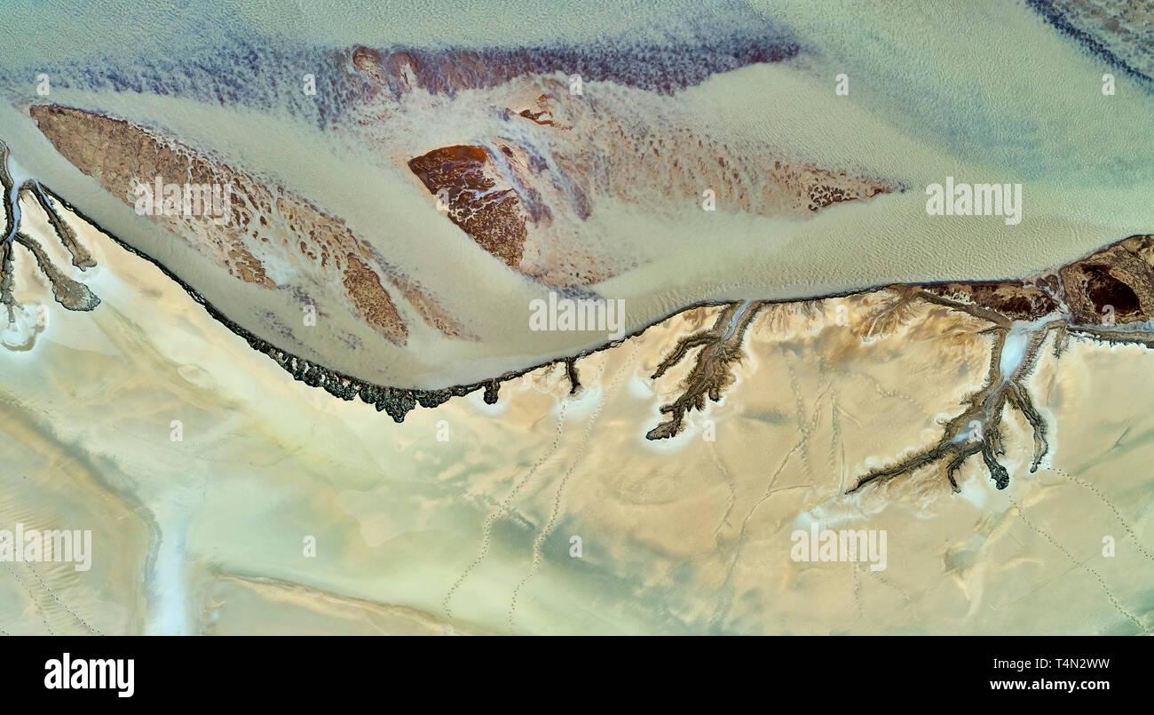 Riverbed patrones, río Skafta, Islandia esta imagen está rodada con un zumbido. Imagen De Stock