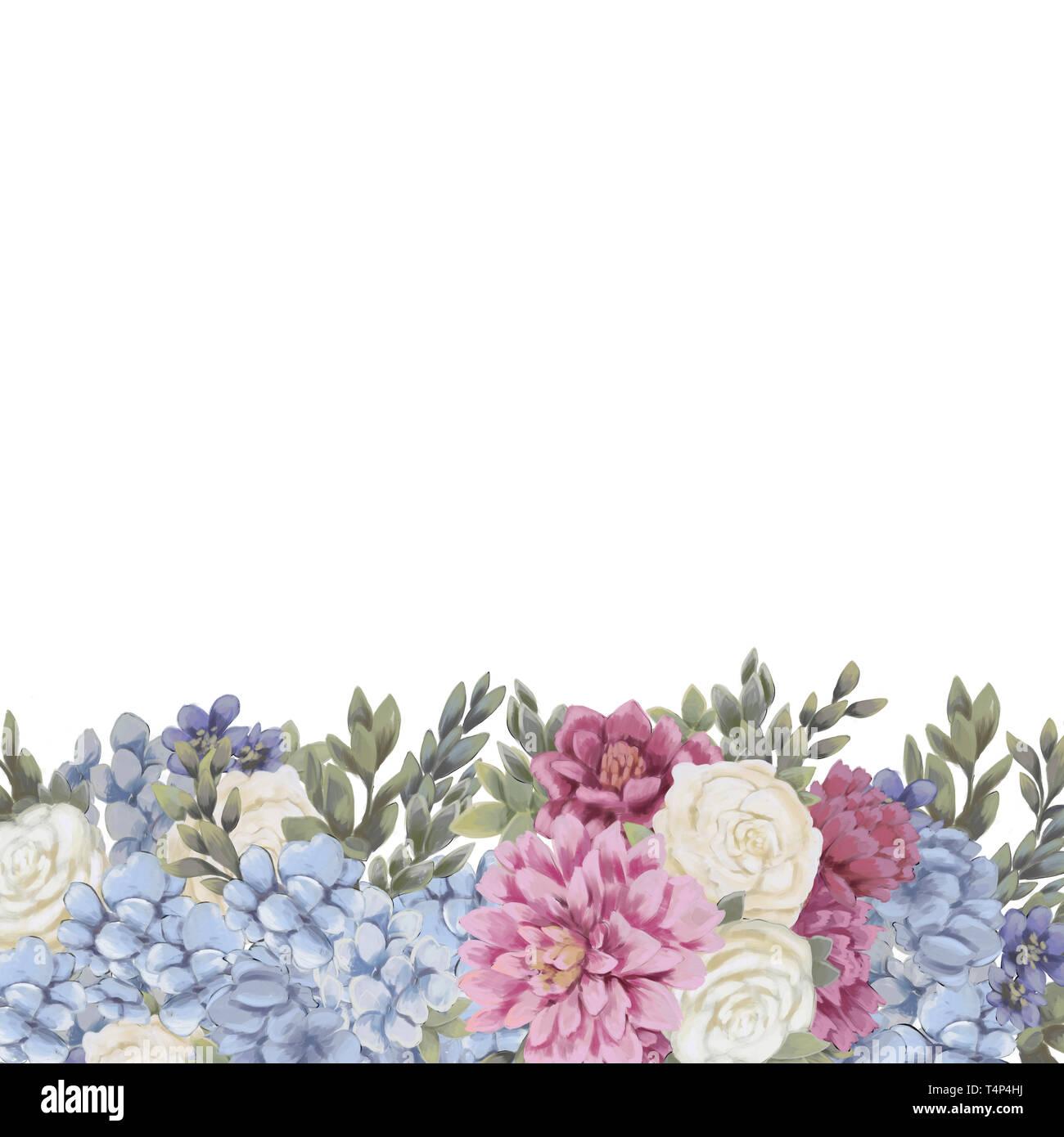 Diseño De Borde Floral Para Guardar La Fecha Tarjetas