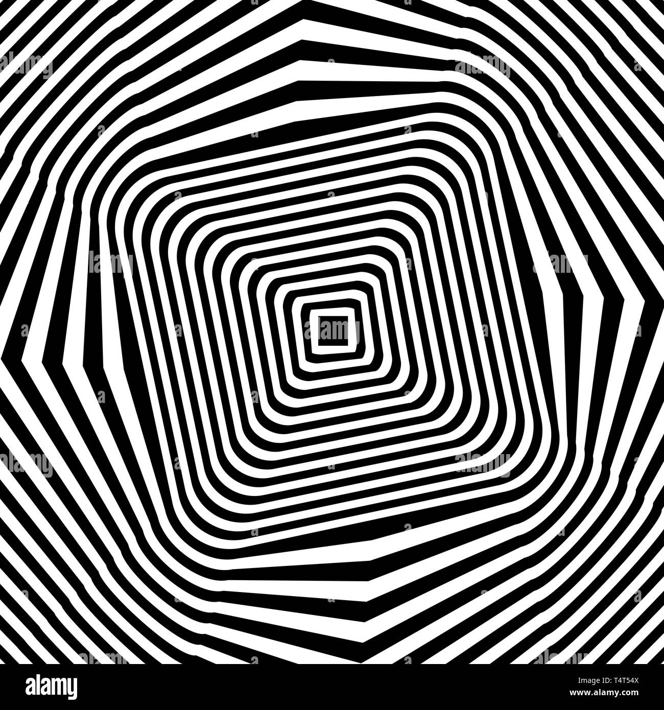 Las líneas negras y blancas ilusión óptica. Ilustración vectorial Imagen De Stock