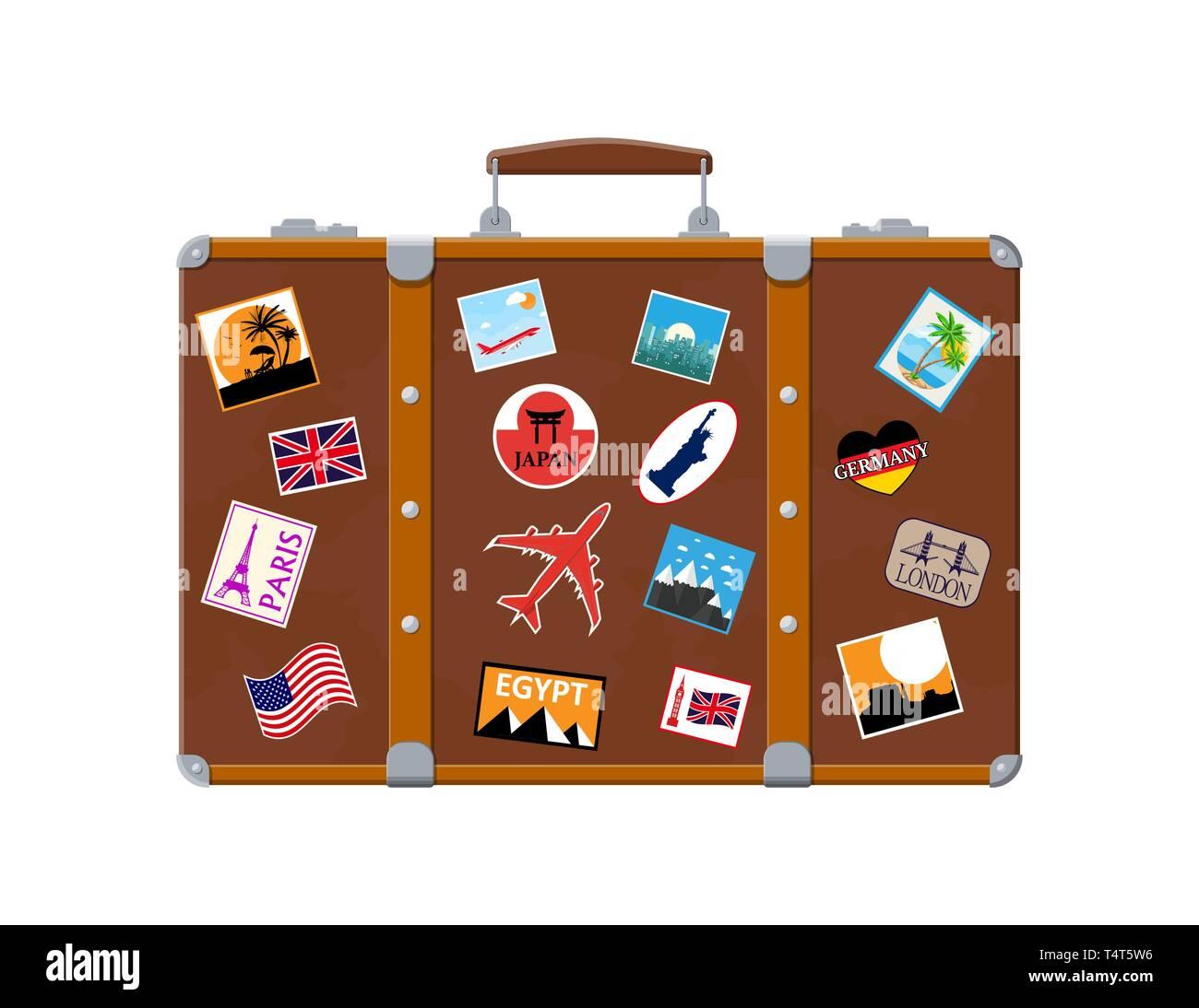 a79884e07 Vintage antigua maleta de viaje. Bolsa retro de cuero con pegatinas. Maletín  marrón con correas. Etiquetas de los countrys y ciudades de todo el mundo.
