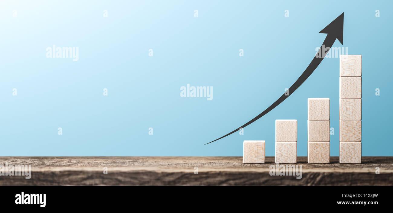 Gráfico de beneficios hechas de bloques de madera / Éxito empresarial concepto Foto de stock