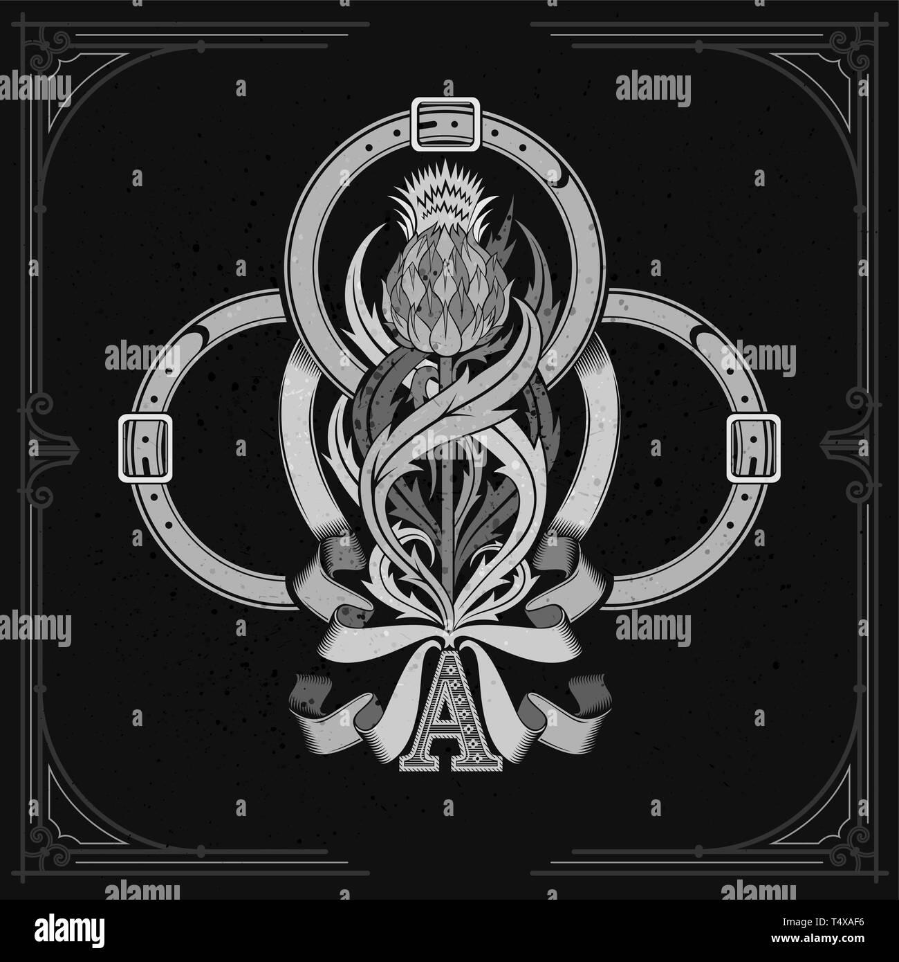 As de Tréboles y cardos patrón floral interior de la correa y la cinta. Elemento de diseño en pizarra blanca Ilustración del Vector
