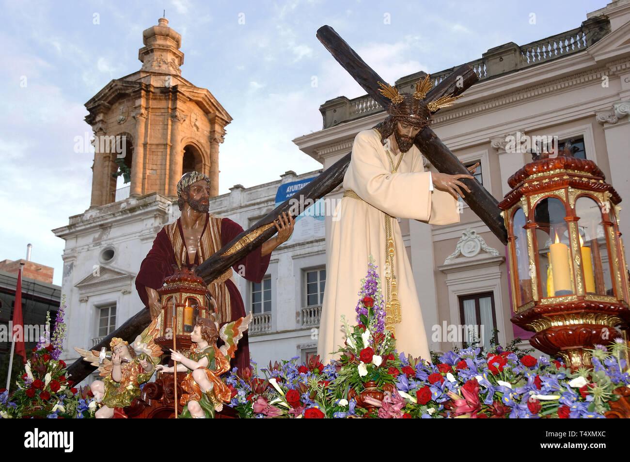 La Semana Santa. La hermandad del Nazareno del Amor. Cádiz. Región de Andalucía. España. Europa Imagen De Stock