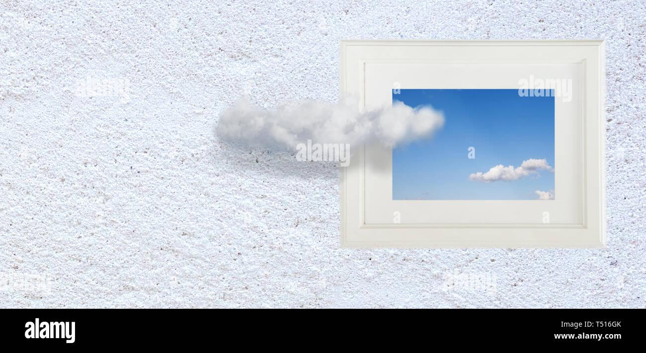 Imagen conceptual de las nubes del cielo, marcos de fotos en la pared. pensar fuera del cuadro surrealista concepto mínimo Imagen De Stock
