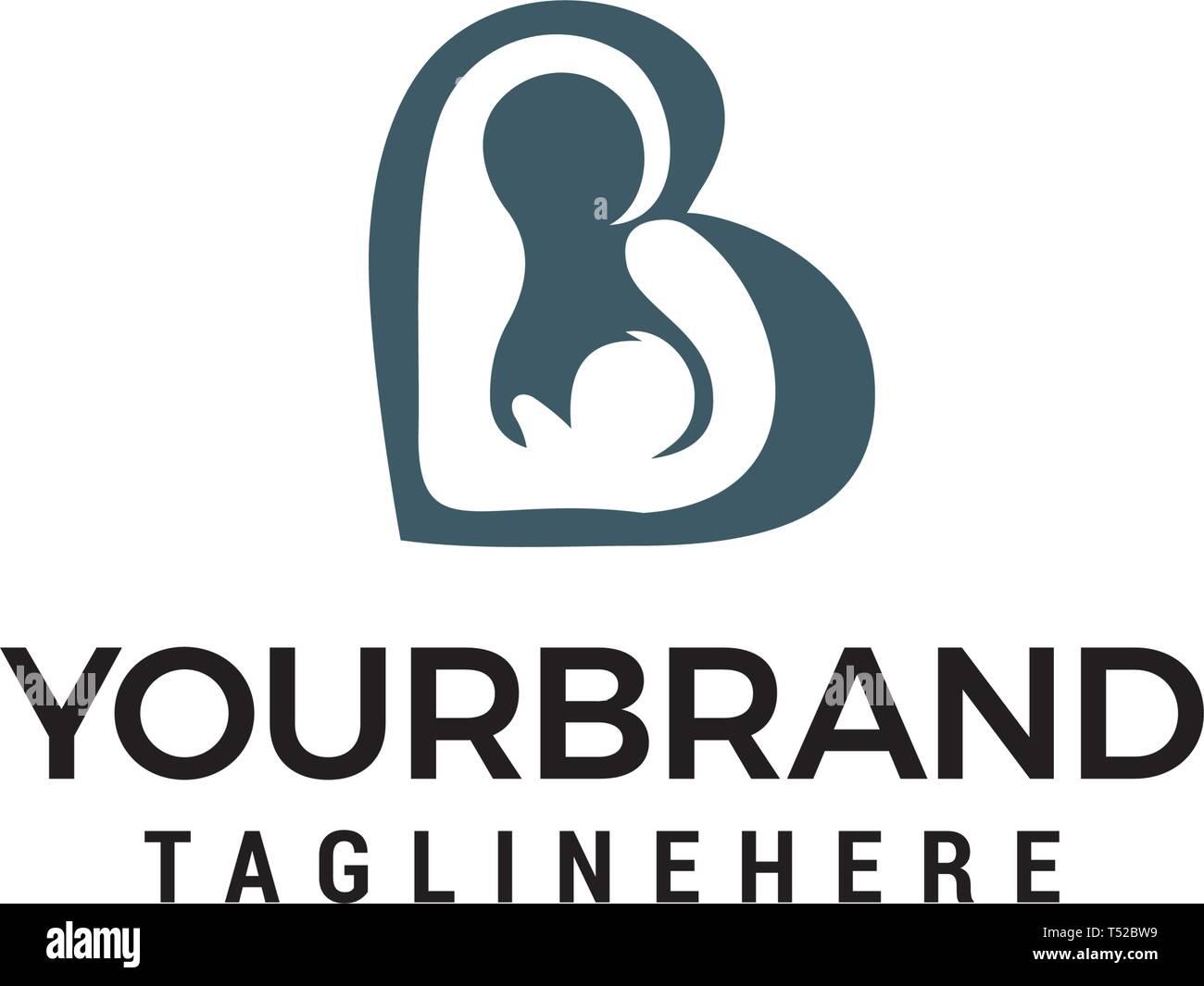 Amor De Madre Bebé concepto vector plantillas de diseño de logotipo Ilustración del Vector