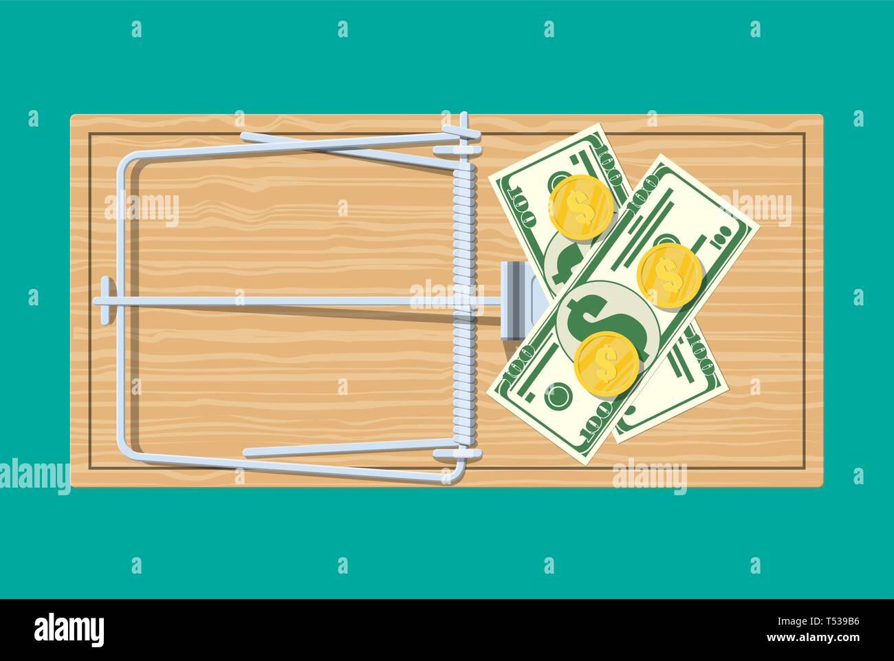 Trampa de ratón de madera con billetes de dólar y monedas de oro, la clásica barra de resorte trampa. Vista desde arriba. Fraude, freebie, el crimen y la mentira. Vector illustrati Ilustración del Vector