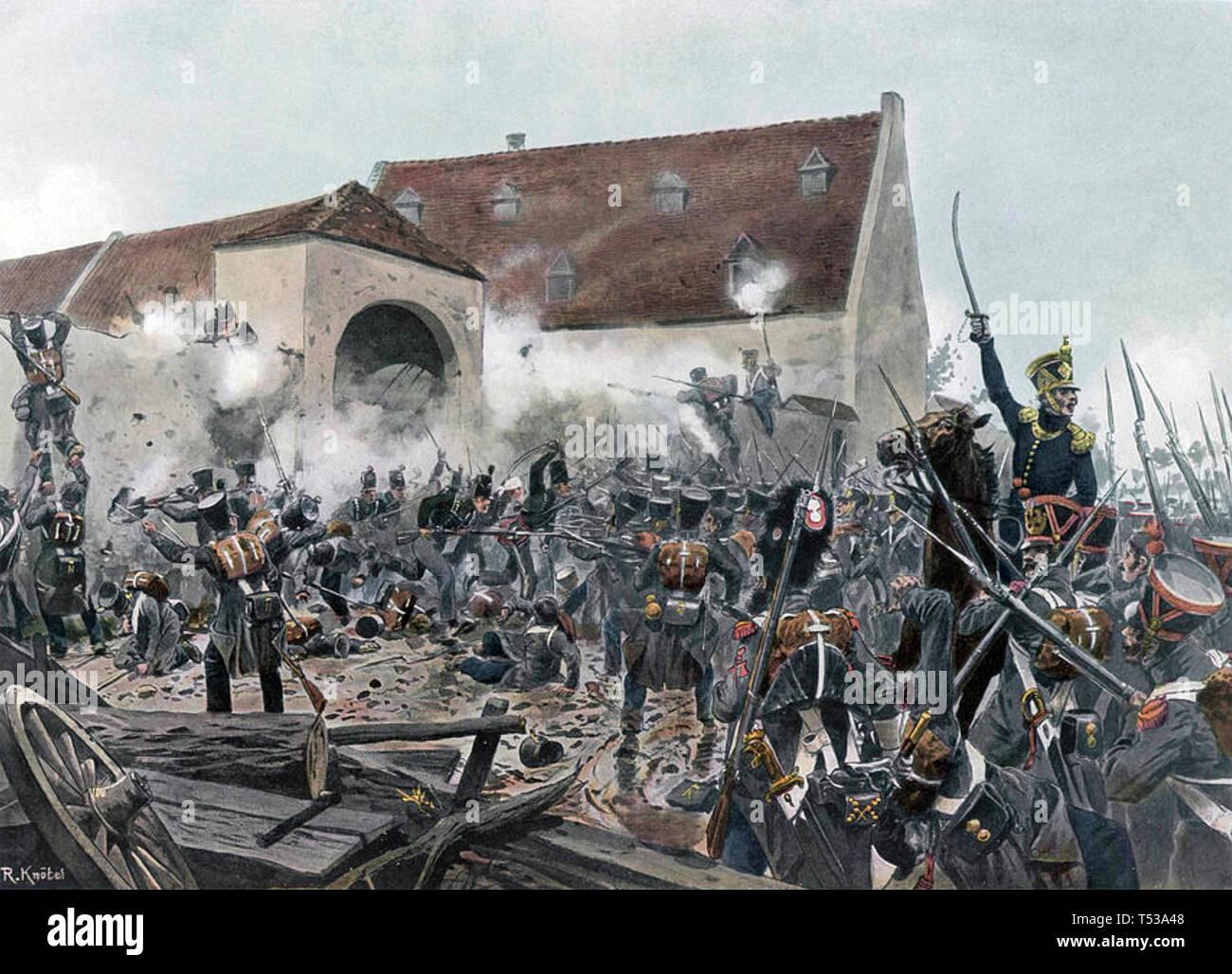 Batalla de Waterloo francés asaltando La Haye Sainte Imagen De Stock