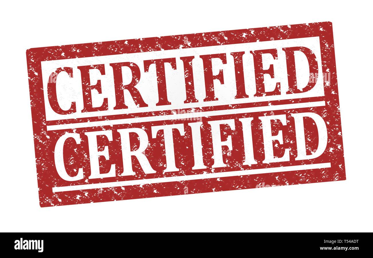 Certificado de sellos de goma, texto en blanco ilustración Foto de stock