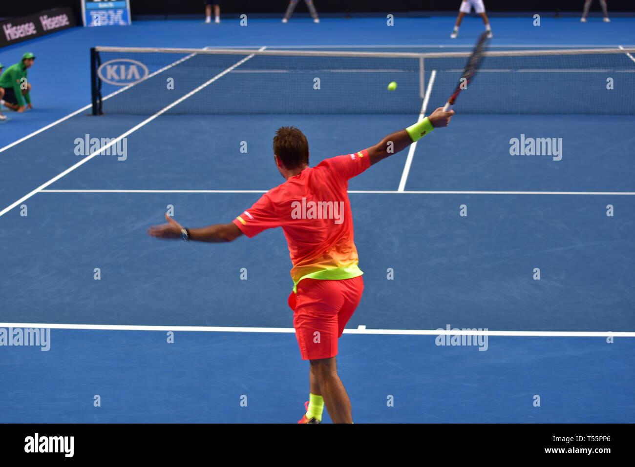 Stan Wawrinka, un jugador profesional suizo de tenis, jugó en el Abierto de Australia 2016 en Melbourne, Australia Foto de stock