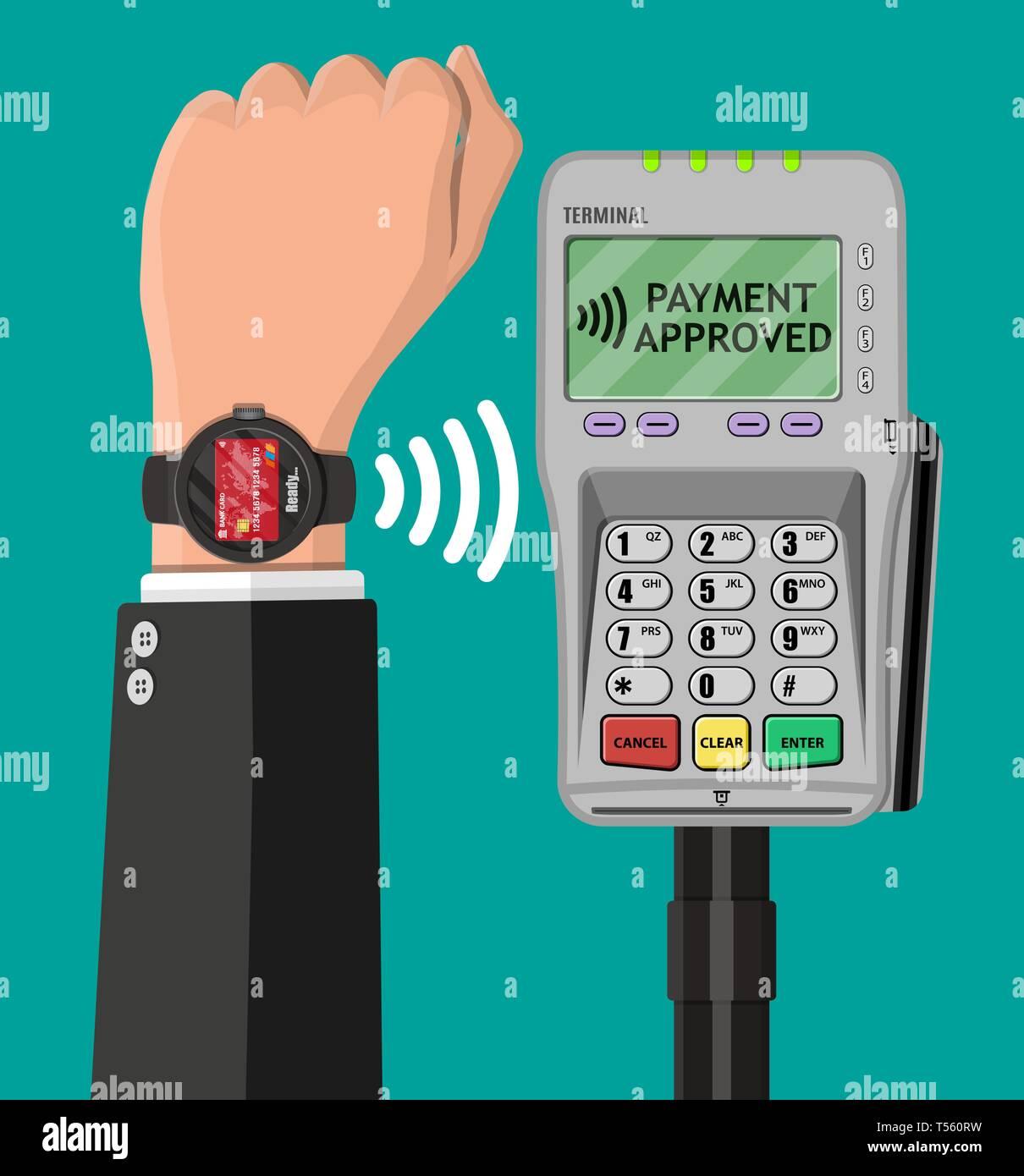 13e9a0055257 Reloj inteligente los pagos sin contacto. Smartwatch en mano y ...
