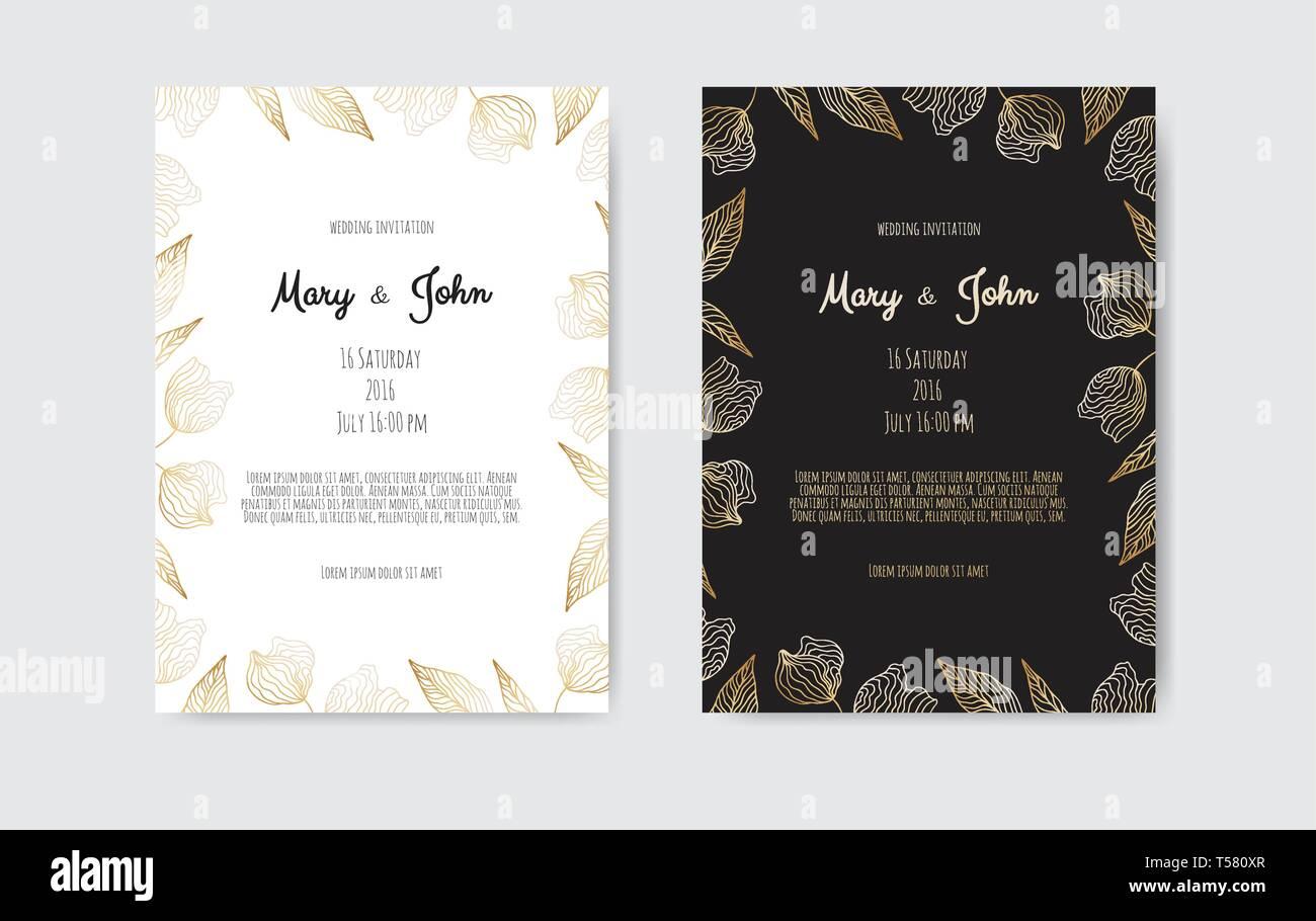 Vector De Oro Invitación Con Elementos Florales Ornamento