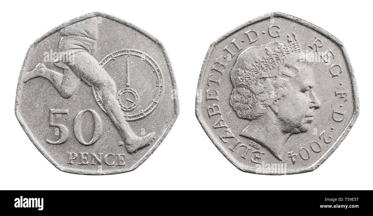 El anverso y el reverso de una pieza conmemorativa de 2004 cincuenta peniques coin para Roger Bannister y la milla de cuatro minutos Foto de stock
