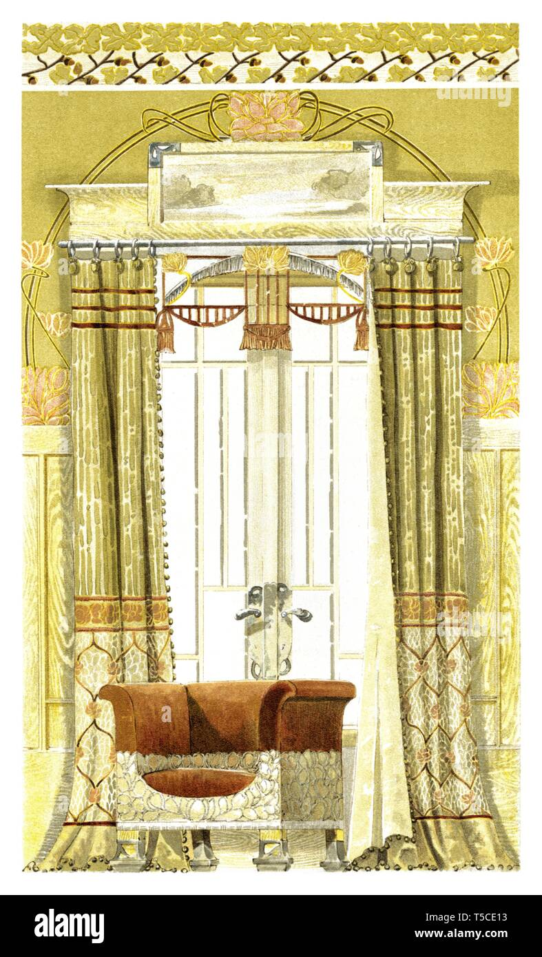 Comedor de la decoración de las ventanas. Ilustración ...