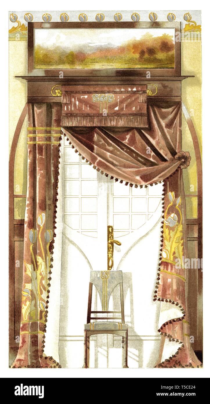 Comedor decoración de la puerta. Ilustración vintage Art ...