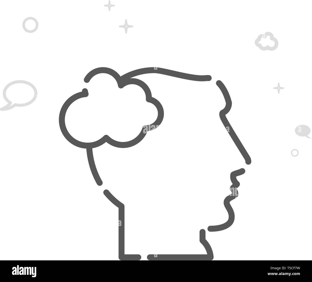 Cabeza humana, un hombre piensa Línea Vector Icono, Símbolo, Pictograma, signo. Luz de fondo geométrica abstracta. Trazo editable Imagen De Stock