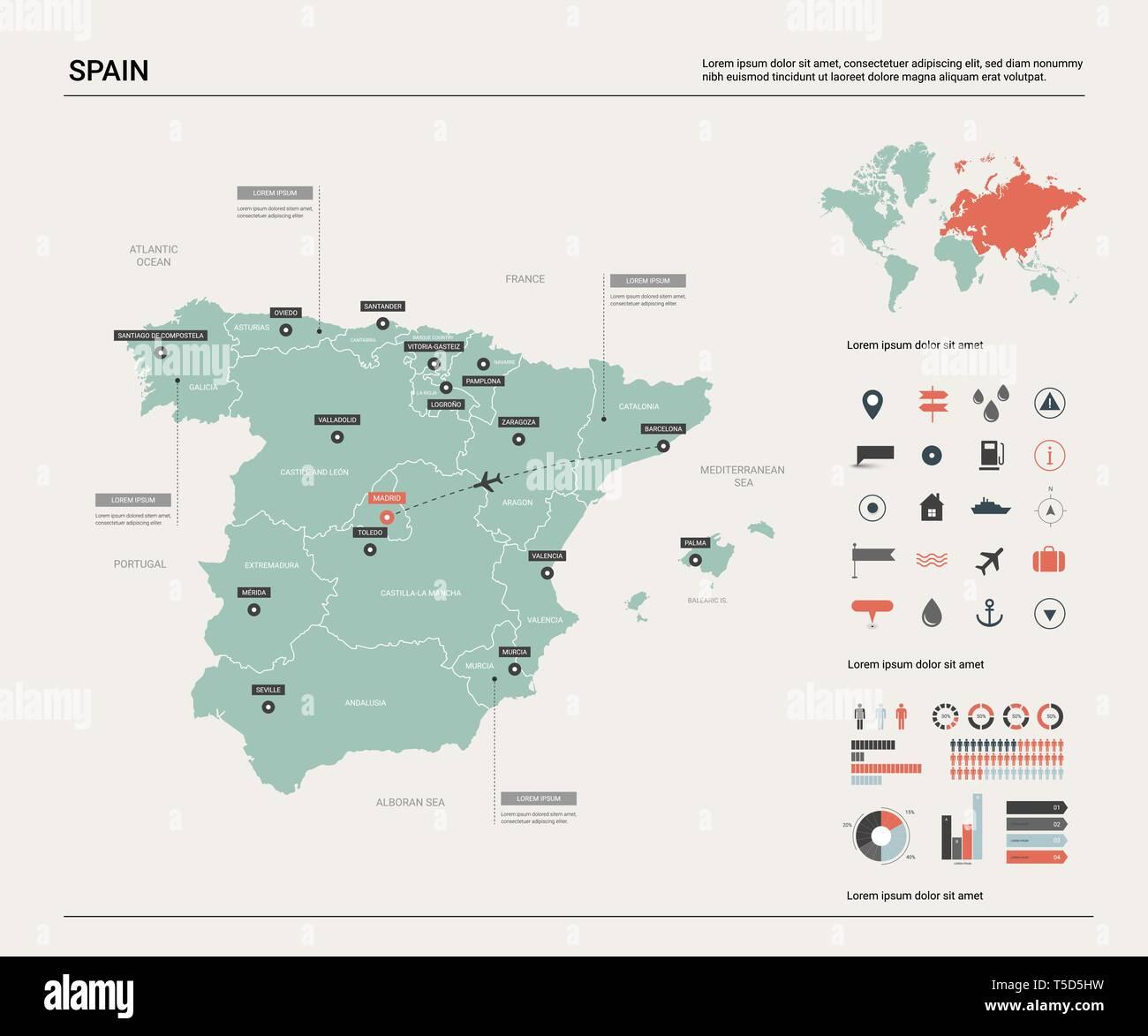 Mapa De Vectores De Espana Alta Pais Detallado Mapa Con Division
