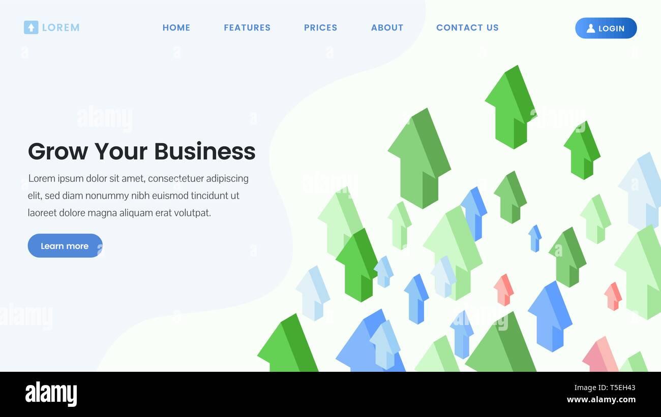 Página de inicio de servicios de desarrollo empresarial. Alfabetización financiera, el crecimiento de los beneficios, incrementar ventas cursos web boceto con flechas de planos isométricos. El inicio del lanzamiento, crecimiento personal diseño de página web Imagen De Stock