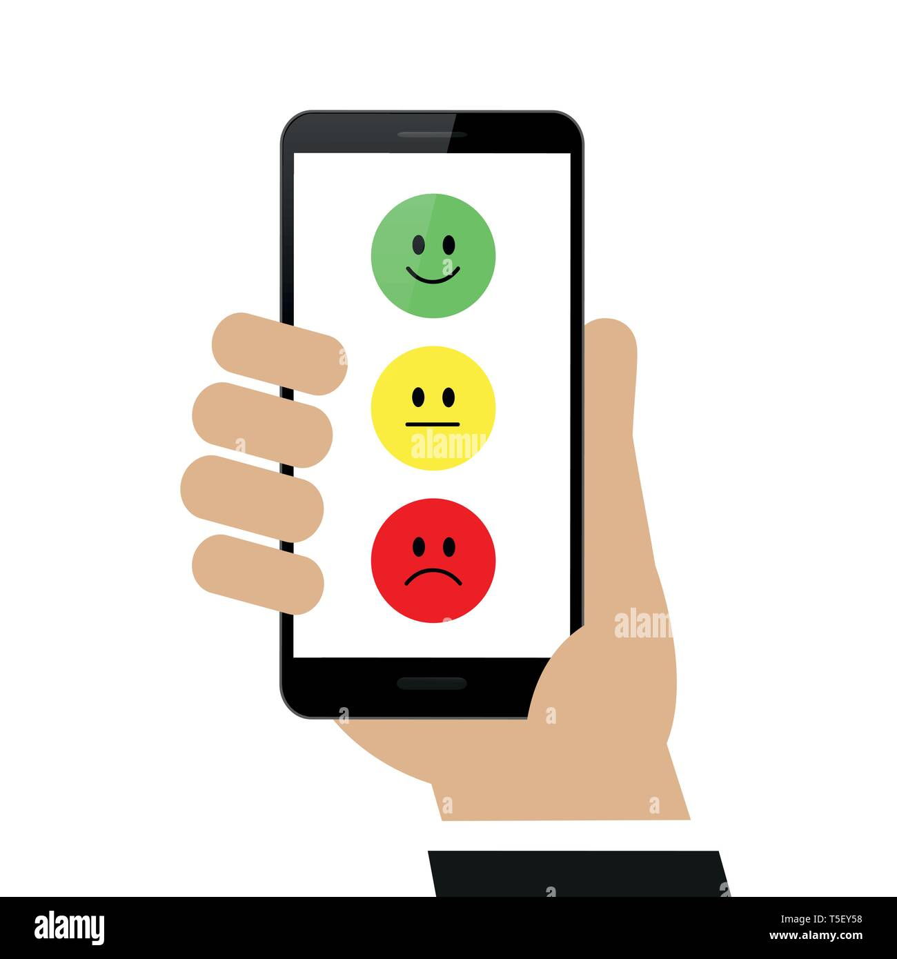 Enviar calificación mediante el smartphone aislado sobre fondo blanco ilustración vectorial EPS10 Imagen De Stock