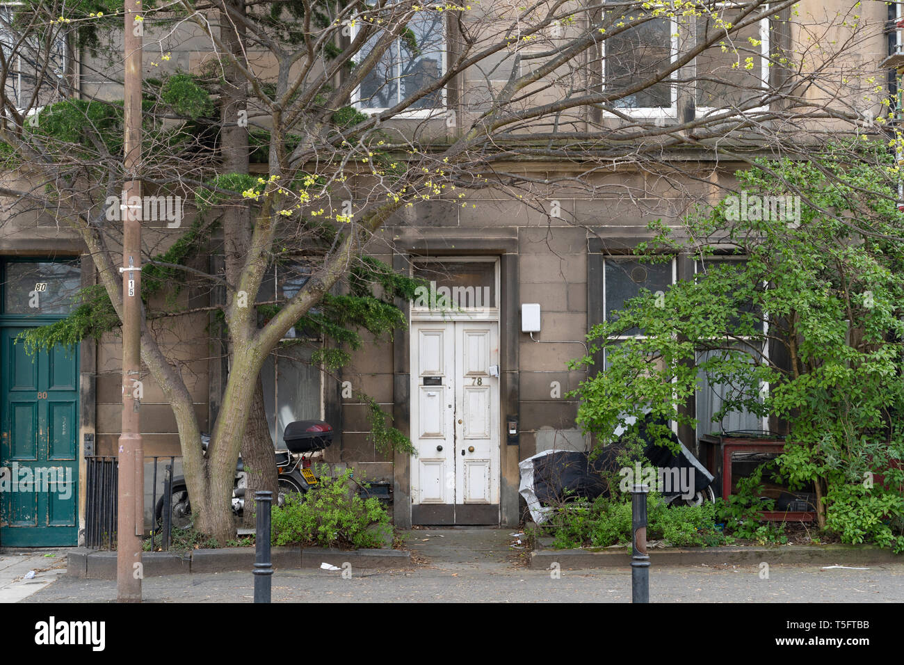 El exterior de la casa en 78 Montgomery Street en Edimburgo, Escocia, Reino Unido. Las empresas inscritas en esta dirección acusado de blanqueo de capitales Foto de stock