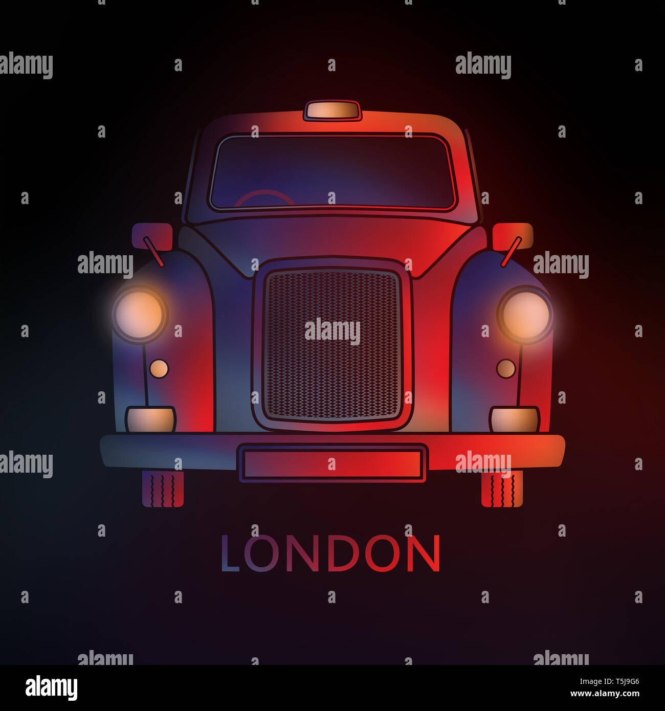Símbolo de Londres - Black Cab por noche- y coloridos gráficos - Diseño Moderno Imagen De Stock