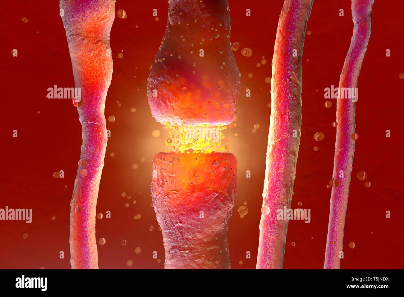 Ilustración 3D, visualización de neuronas disparando neurotransmisores en el espacio sináptico Imagen De Stock