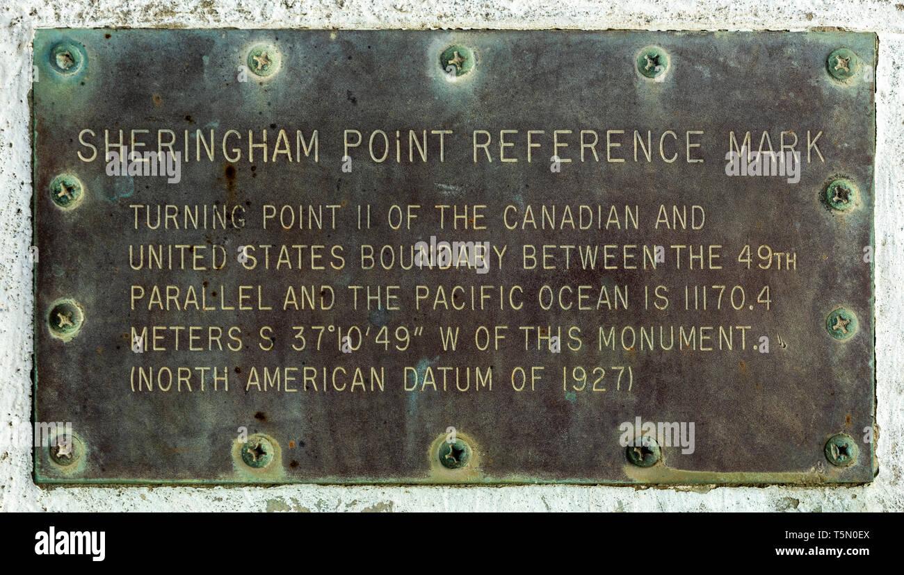 Canadá, British Columbia, marca de referencia Sheringham plaque Imagen De Stock