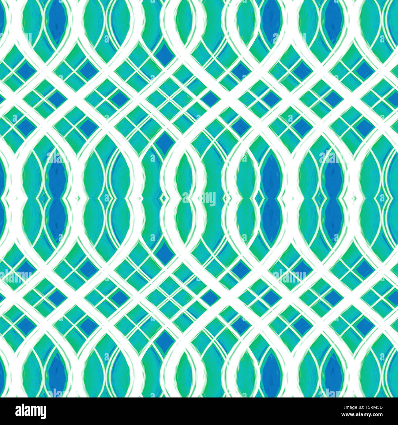 Arte digital entrelazado de estilo abstracto geométrico mosaico patrón sin fisuras en la mezcla de colores fríos pastel Imagen De Stock
