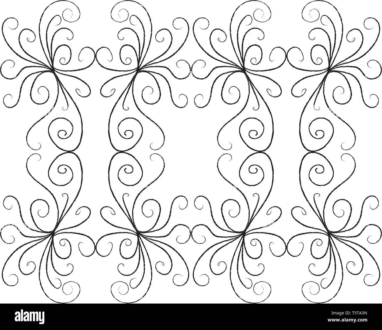 Una Línea Bidimensional Monocromática Arte De Varias Curvas