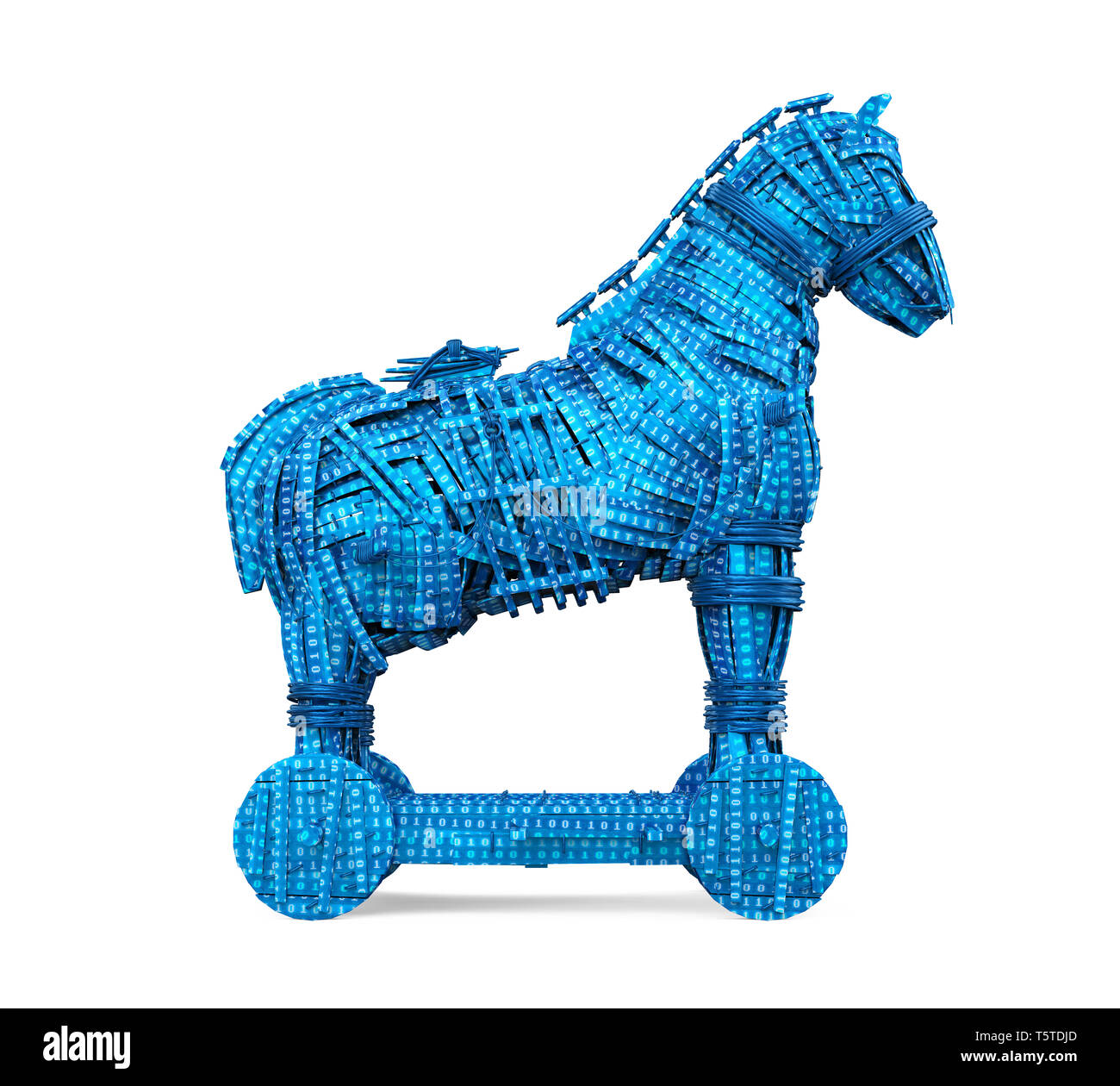 Caballo de Troya con aislado de código binario Imagen De Stock