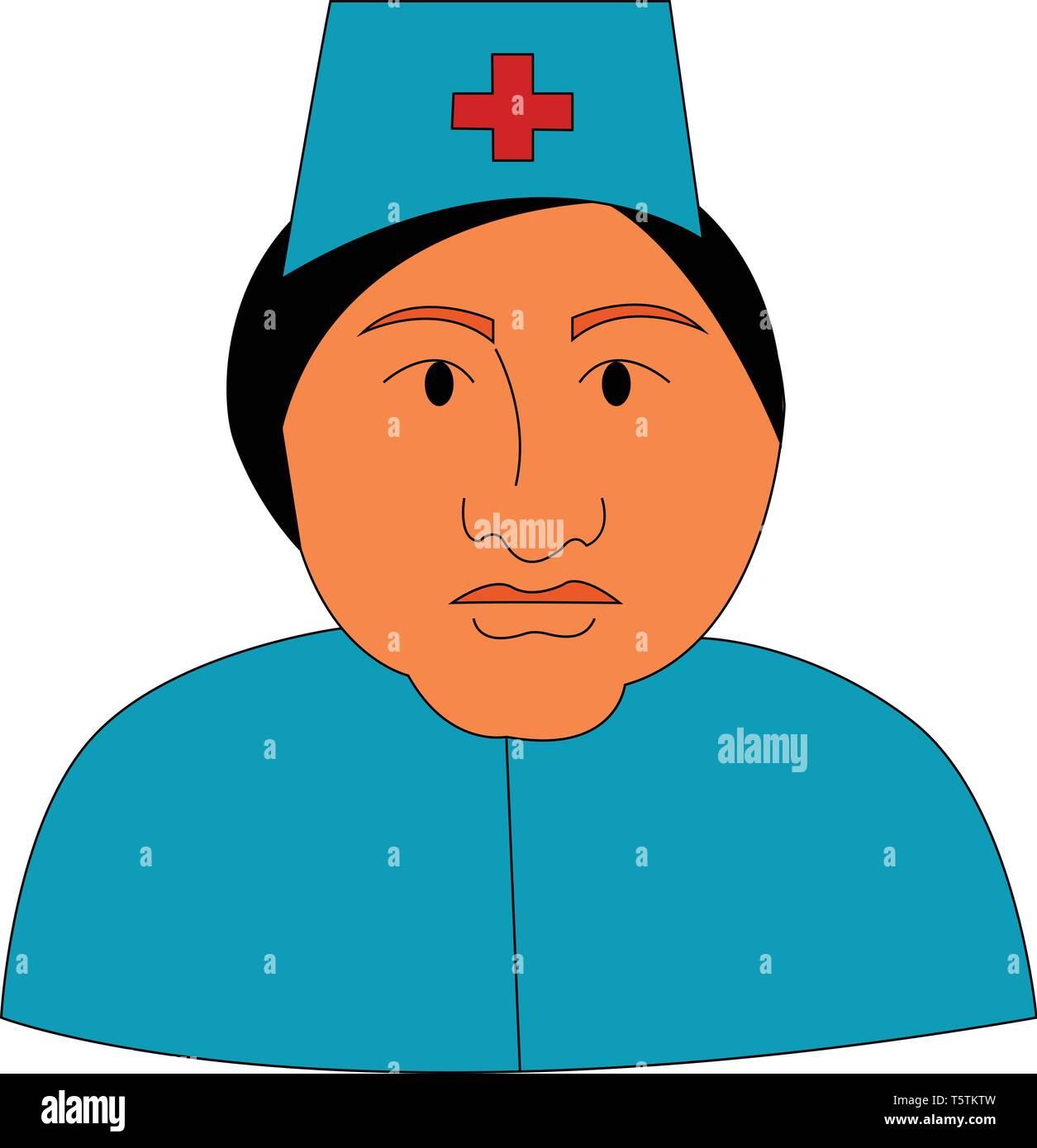 Una Enfermera En El Hospital Vestida De Uniforme De Color