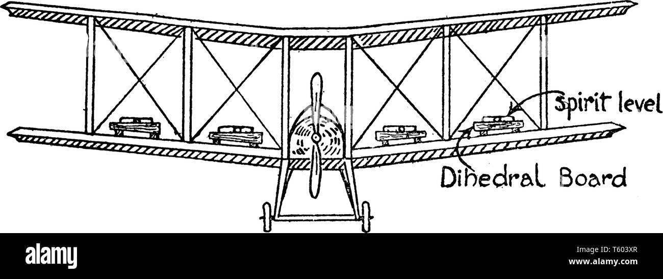 Junta diedro avión se levanta sobre las patas cortas sobre las costillas con un nivel de burbuja en la parte superior de la placa, línea vintage de dibujo o ilustración grabado Ilustración del Vector