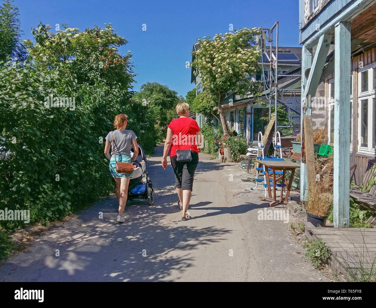 Christiania o Freetown Christiania autoproclamado barrio autónomo en 1971, cubriendo 34 hectáreas en el barrio de Christianshavn El situat Foto de stock