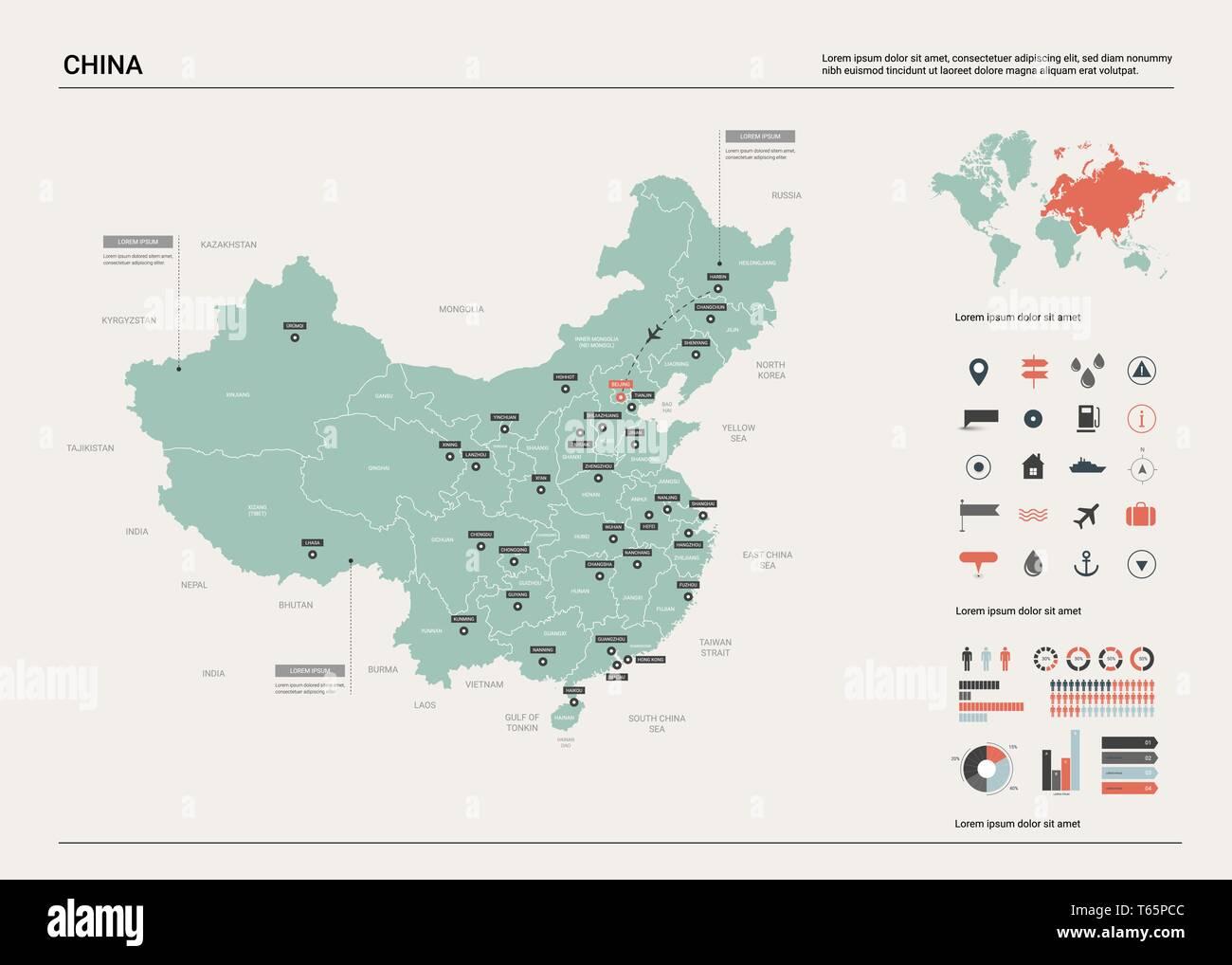 Ciudades De China Mapa.Mapa De Vectores De China Alta Pais Detallado Mapa Con