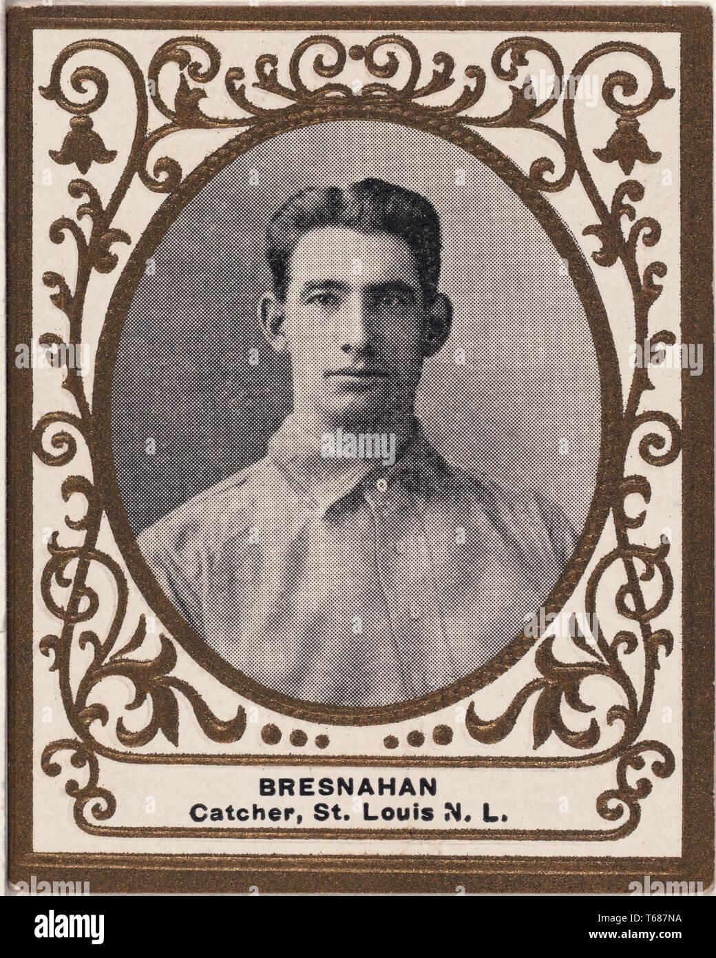 Roger Bresnahan, St. Louis Cardinals, tarjetas de béisbol retrato, American Tobacco Company, 1909 Foto de stock