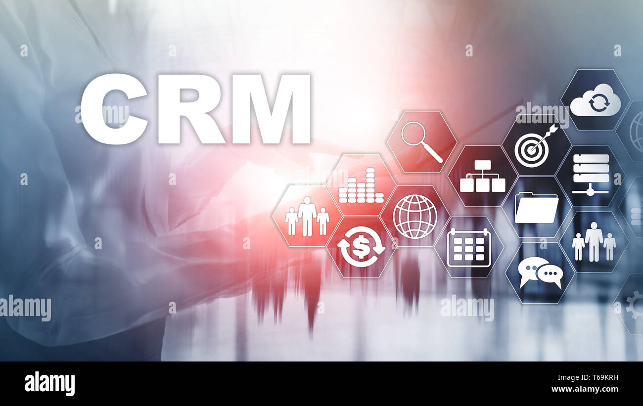 Análisis de la gestión de CRM cliente empresarial concepto de servicio. Gestión de las relaciones. Foto de stock