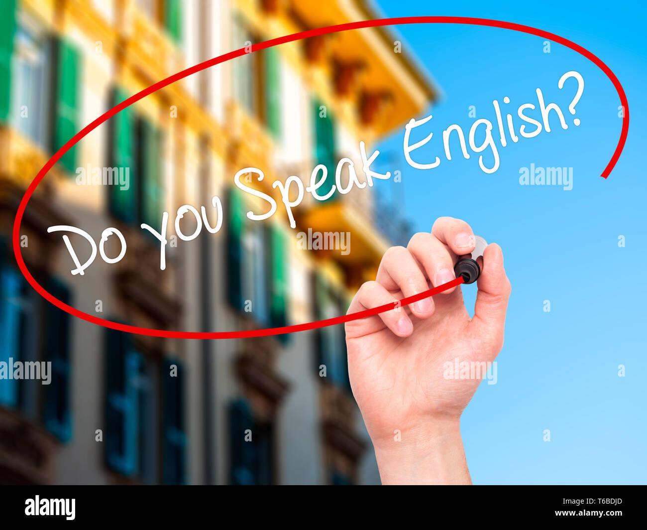 Escritura A Mano Hombre Habla Usted Inglés Con Marcador