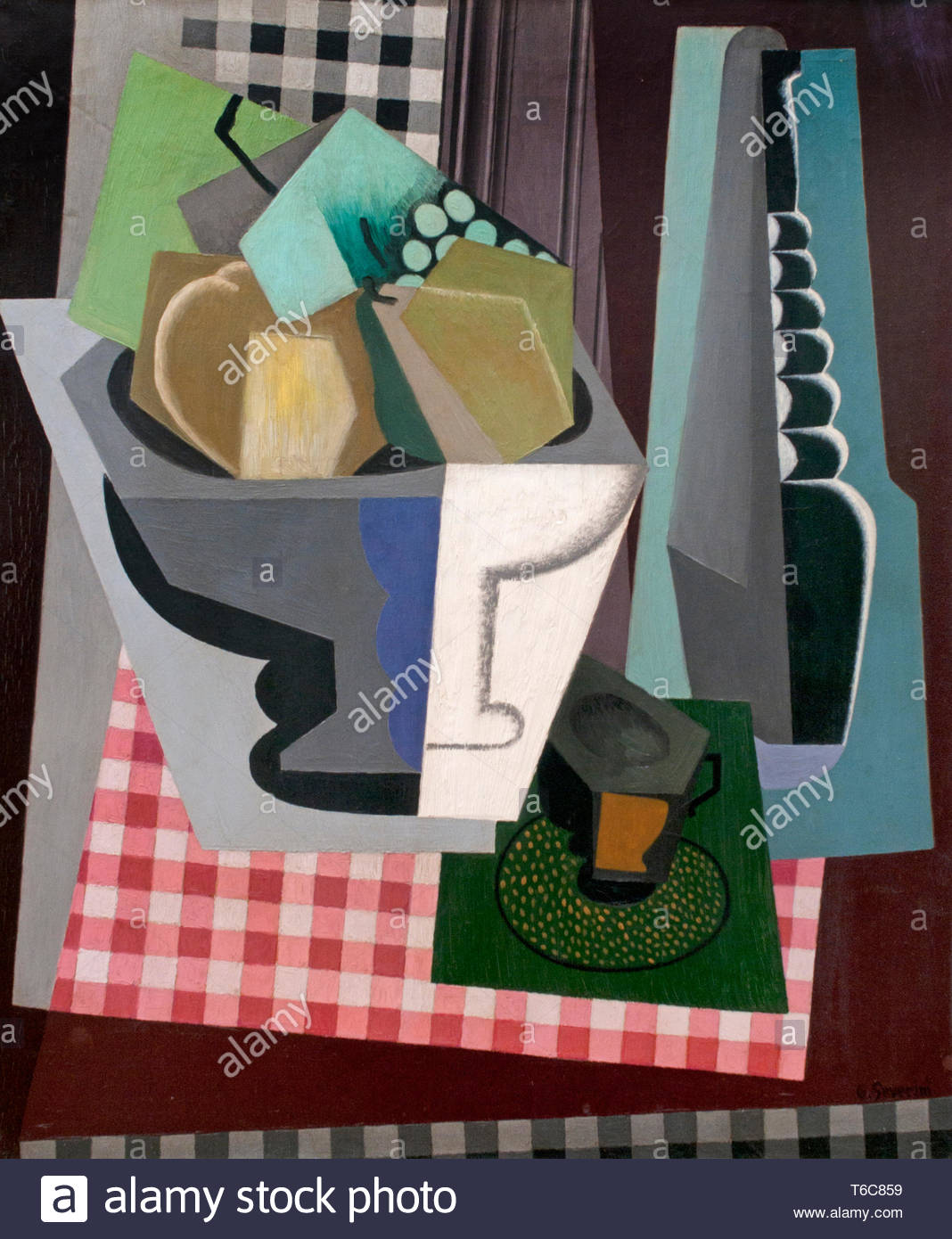 Todavía la vida en la ventana 1916 por Gino Severini nacido en1883 pintor italiano (movimiento futurista) Italia Imagen De Stock