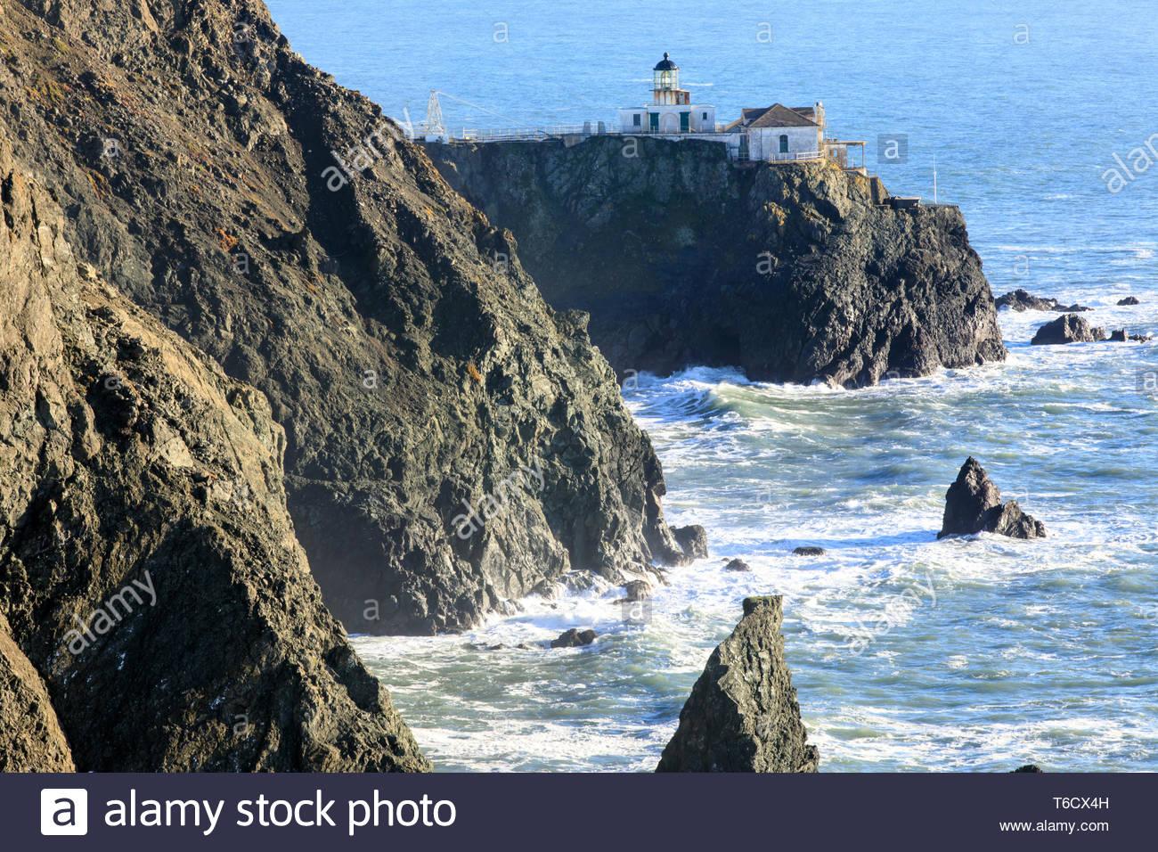 Faro de Punta Bonita en Marin. Imagen De Stock