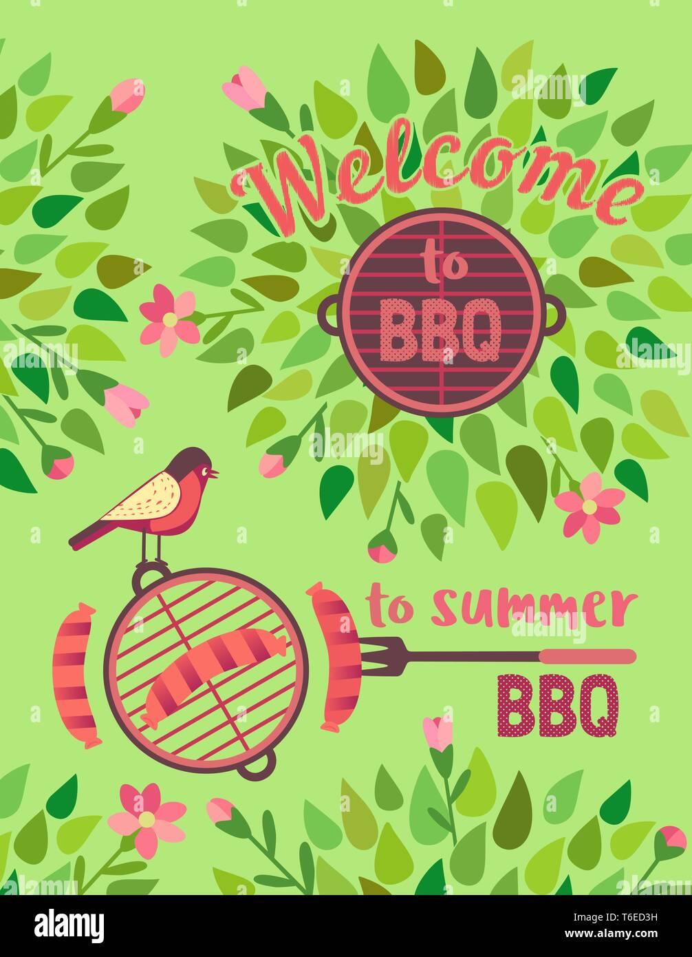 Picnic de verano con barbacoa vector cartel de bienvenida Imagen De Stock