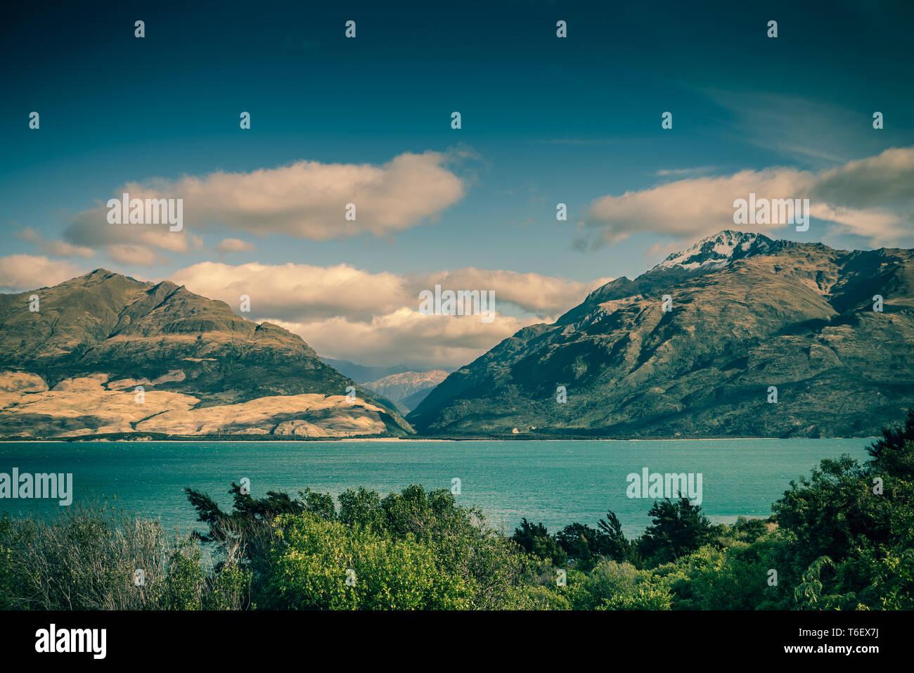 El Lago Wanaka, Isla del Sur, Nueva Zelanda Foto de stock