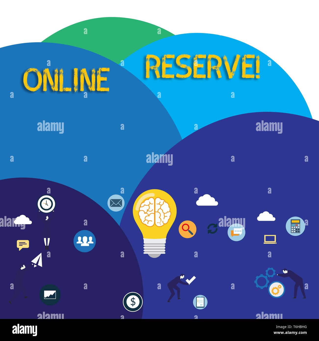 Escribir nota mostrando la reserva online. Concepto de ...